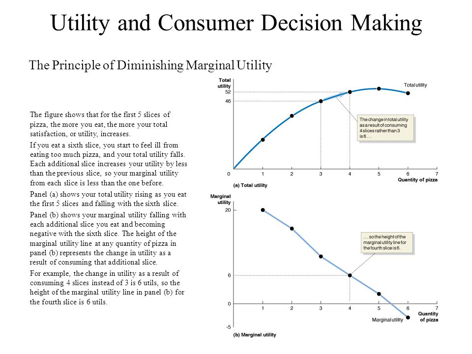 Utility and Consumer Decision Making The Principle of Diminishing Marginal Utility The figure shows that for the first 5 slices of pizza, the more you eat, the more your total satisfaction, or utility, increases.