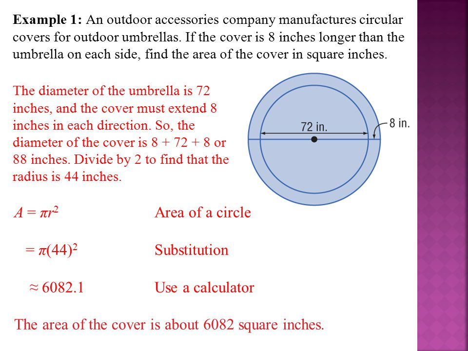 The diameter of the umbrella is 72 inches, and the cover must extend 8 inches in each direction. So, the diameter of the cover is 8 + 72 + 8 or 88 inc