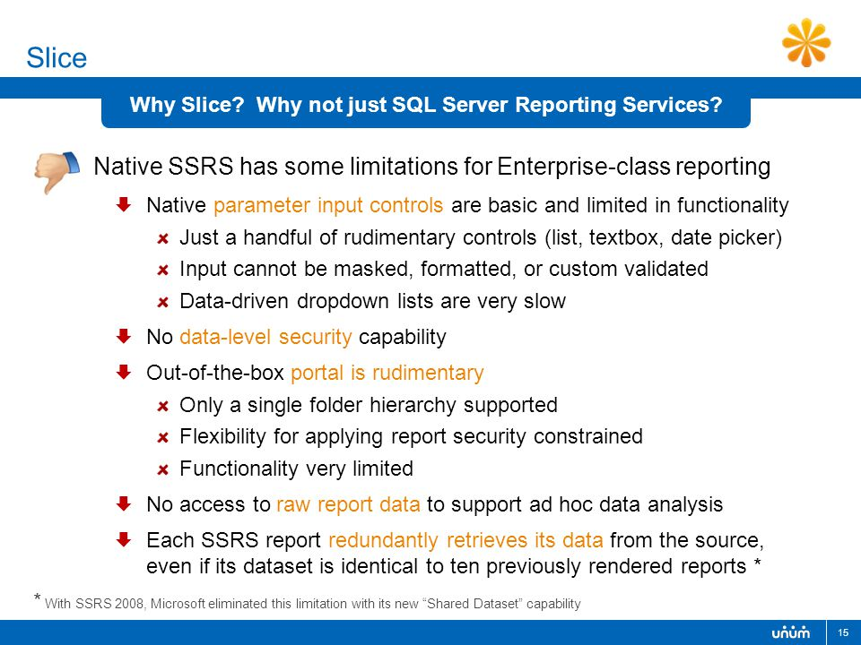 15 Why Slice. Why not just SQL Server Reporting Services.