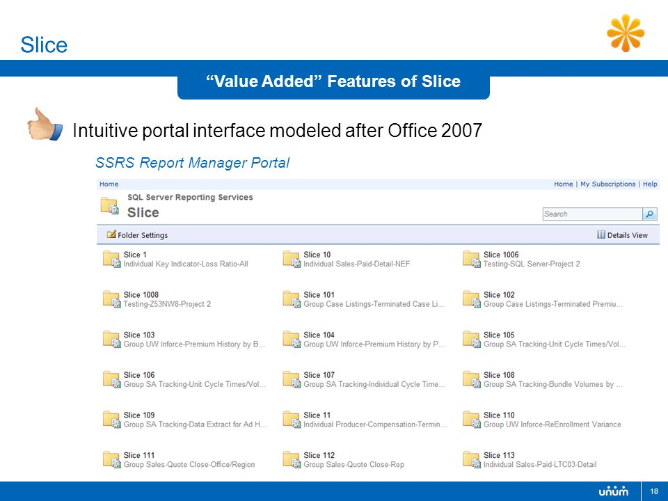 "18 Slice Intuitive portal interface modeled after Office 2007 ""Value Added"" Features of Slice SSRS Report Manager Portal"