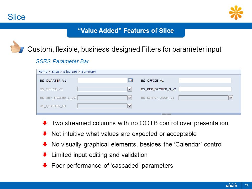 "22 Slice Custom, flexible, business-designed Filters for parameter input ""Value Added"" Features of Slice SSRS Parameter Bar  Two streamed columns wit"