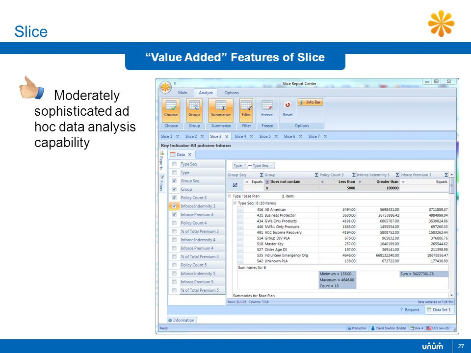 27 Slice Moderately sophisticated ad hoc data analysis capability Value Added Features of Slice