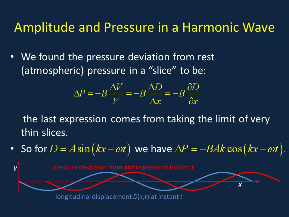 "Amplitude and Pressure in a Harmonic Wave We found the pressure deviation from rest (atmospheric) pressure in a ""slice"" to be: the last expression com"