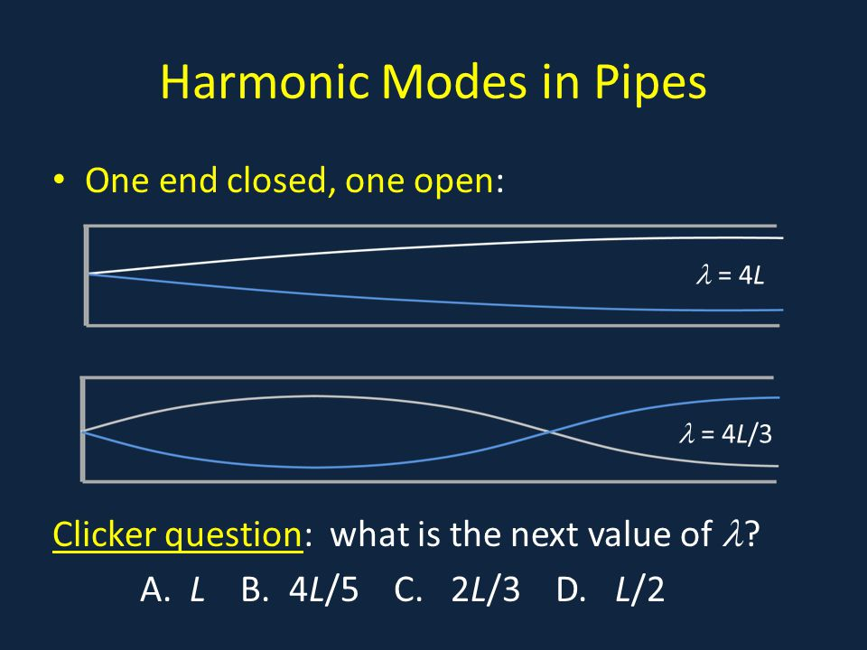 Harmonic Modes in Pipes One end closed, one open: Clicker question: what is the next value of ? A. L B. 4L/5 C. 2L/3 D. L/2 = 4L = 4L/3
