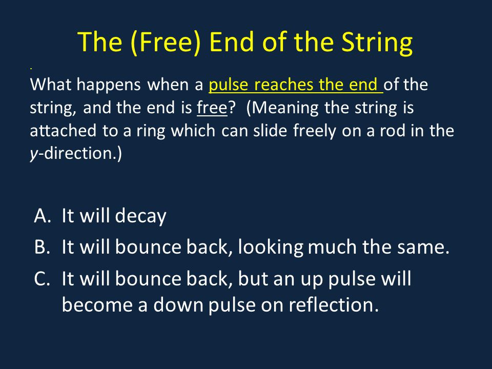 The (Free) End of the String. What happens when a pulse reaches the end of the string, and the end is free? (Meaning the string is attached to a ring