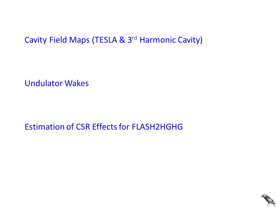 Cavity Field Maps (TESLA & 3 rd Harmonic Cavity) Undulator Wakes Estimation of CSR Effects for FLASH2HGHG