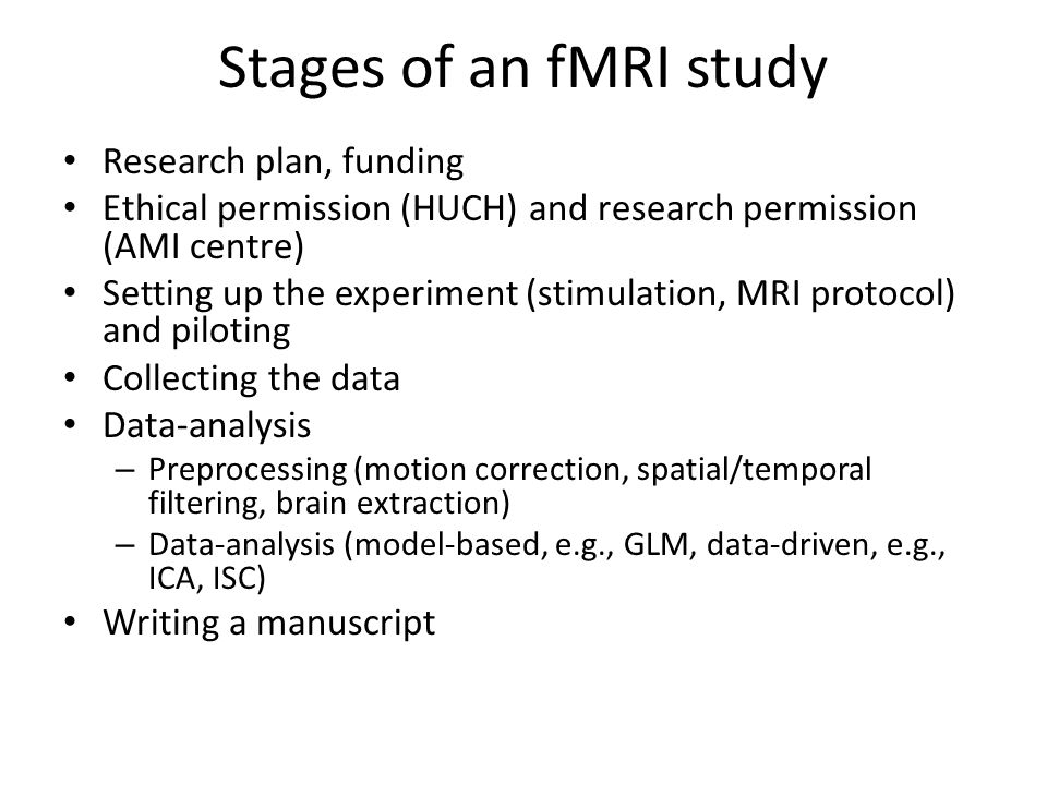 MRI signal B0 field (e.g., 3T)Larmor frequency RF excitation / relaxation T1 = realignment with the magnetic field T2 = emission of energy T2* = sensitive to inhomogeneties in the magnetic field
