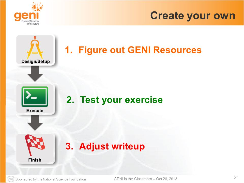 Sponsored by the National Science Foundation 21 GENI in the Classroom – Oct 26, 2013 Create your own 1.Figure out GENI Resources 2.Test your exercise 3.Adjust writeup