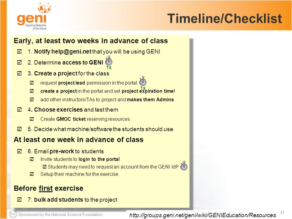 Sponsored by the National Science Foundation 31 GENI in the Classroom – Oct 26, 2013 Timeline/Checklist Early, at least two weeks in advance of class  1.