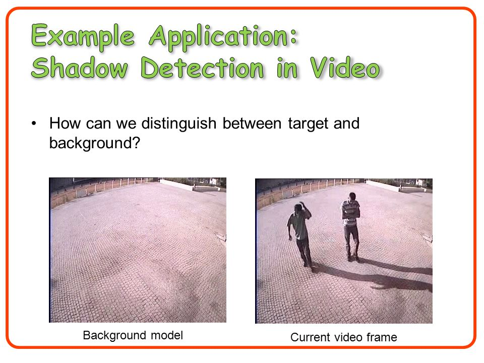How can we distinguish between target and background Background model Current video frame