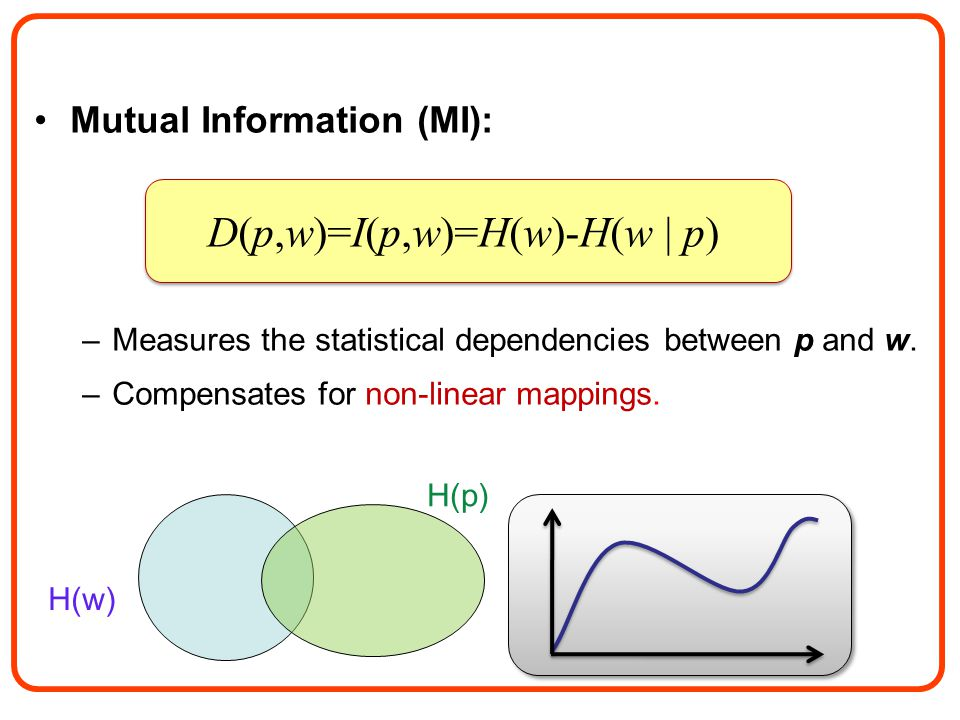Mutual Information (MI): –Measures the statistical dependencies between p and w.