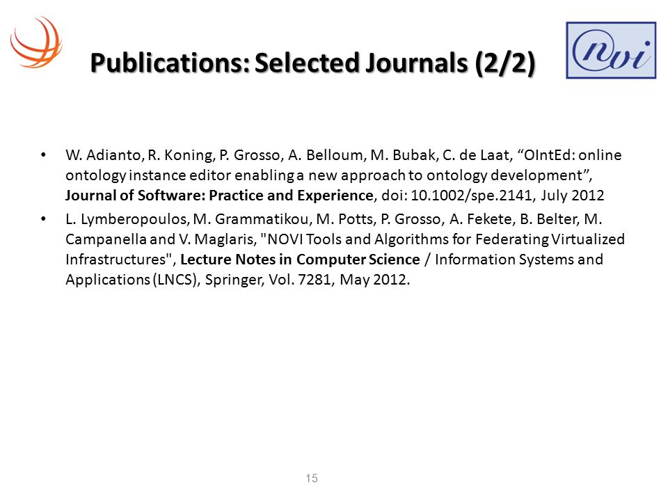 Publications: Selected Journals (2/2) W. Adianto, R.