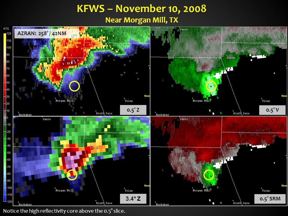 KFWS – November 10, 2008 Near Morgan Mill, TX 0.5° Z 0.5° V 0.5° SRM 3.4° Z Notice the high reflectivity core above the 0.5° slice. AZRAN: 258° / 42NM