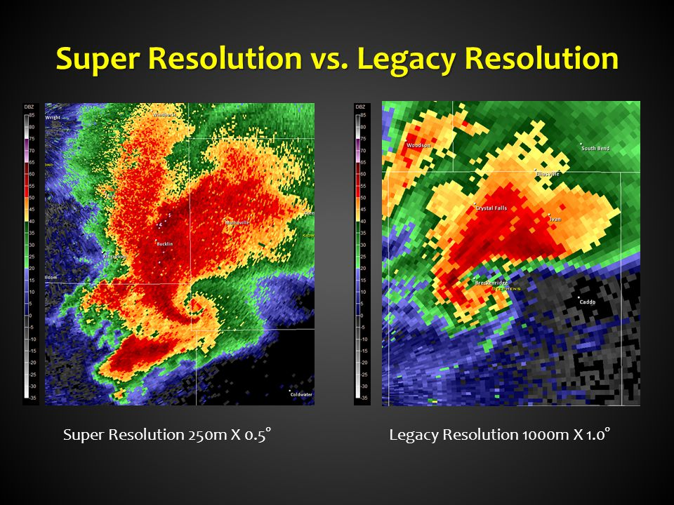 Super Resolution vs. Legacy Resolution Super Resolution 250m X 0.5°Legacy Resolution 1000m X 1.0°