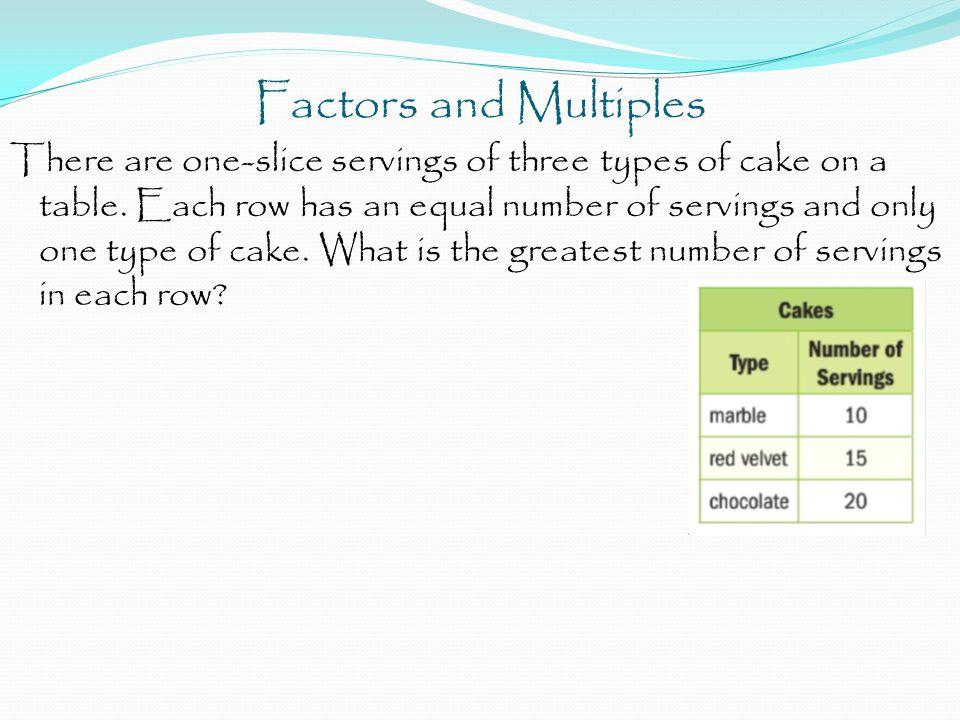 Factors and Multiples There are one-slice servings of three types of cake on a table. Each row has an equal number of servings and only one type of ca