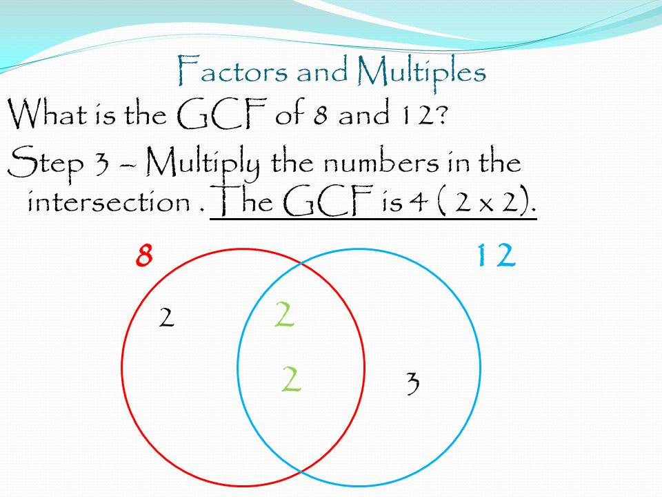 Factors and Multiples What is the GCF of 8 and 12? Step 3 – Multiply the numbers in the intersection. The GCF is 4 ( 2 x 2). 812 2 2 2 3