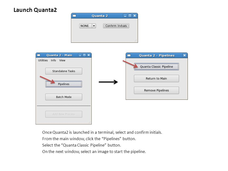 """Once Quanta2 is launched in a terminal, select and confirm initials. From the main window, click the """"Pipelines"""" button. Select the """"Quanta Classic Pi"""