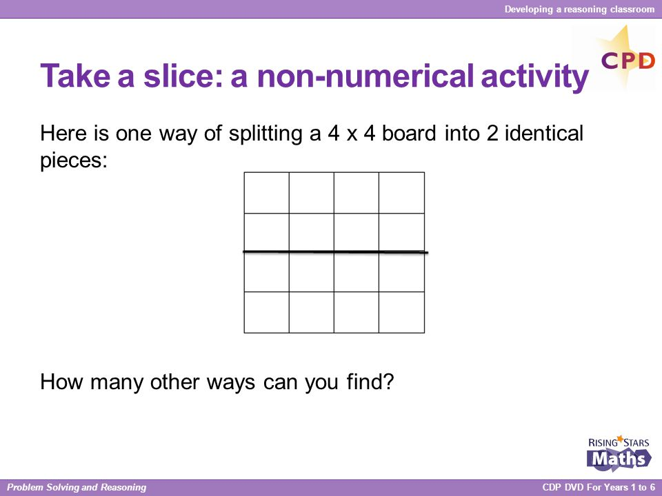 Problem Solving and Reasoning CDP DVD For Years 1 to 6 Developing a reasoning classroom Take a slice: a non-numerical activity Here is one way of spli