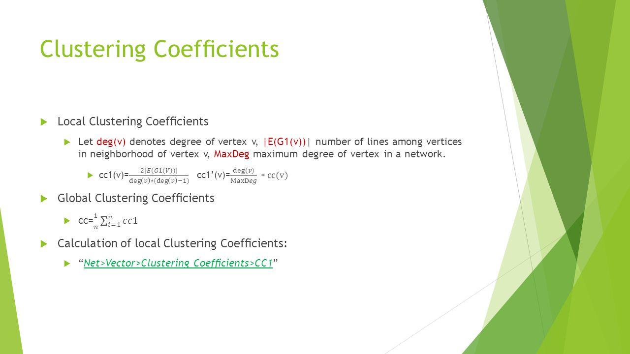 Clustering Coefficients