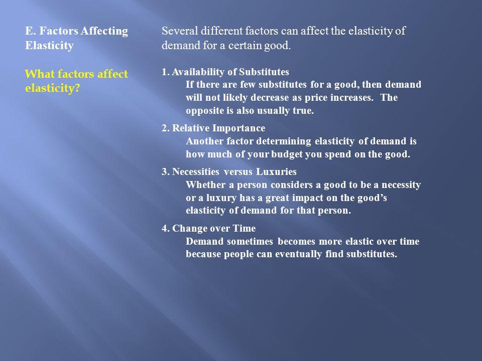 E.Factors Affecting Elasticity What factors affect elasticity.