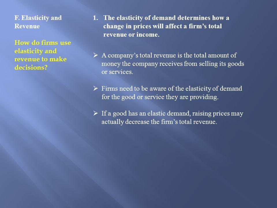 F.Elasticity and Revenue How do firms use elasticity and revenue to make decisions.
