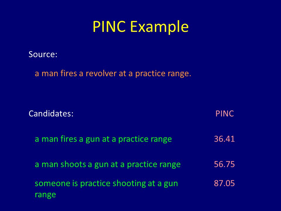 PINC Example Source: a man fires a revolver at a practice range. Candidates:PINC a man fires a gun at a practice range36.41 a man shoots a gun at a pr