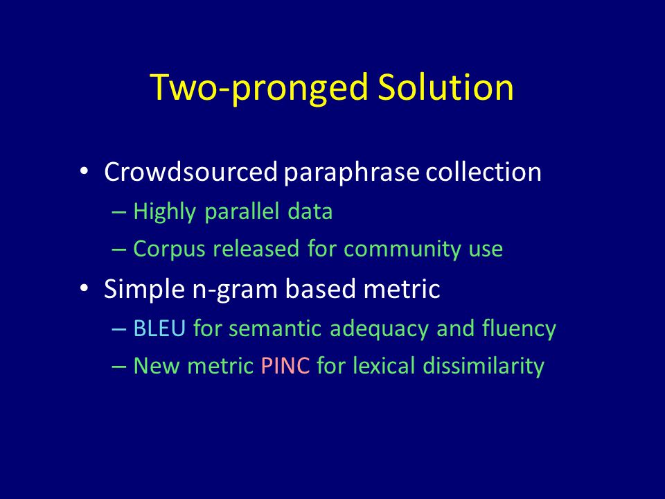 Two-pronged Solution Crowdsourced paraphrase collection – Highly parallel data – Corpus released for community use Simple n-gram based metric – BLEU for semantic adequacy and fluency – New metric PINC for lexical dissimilarity