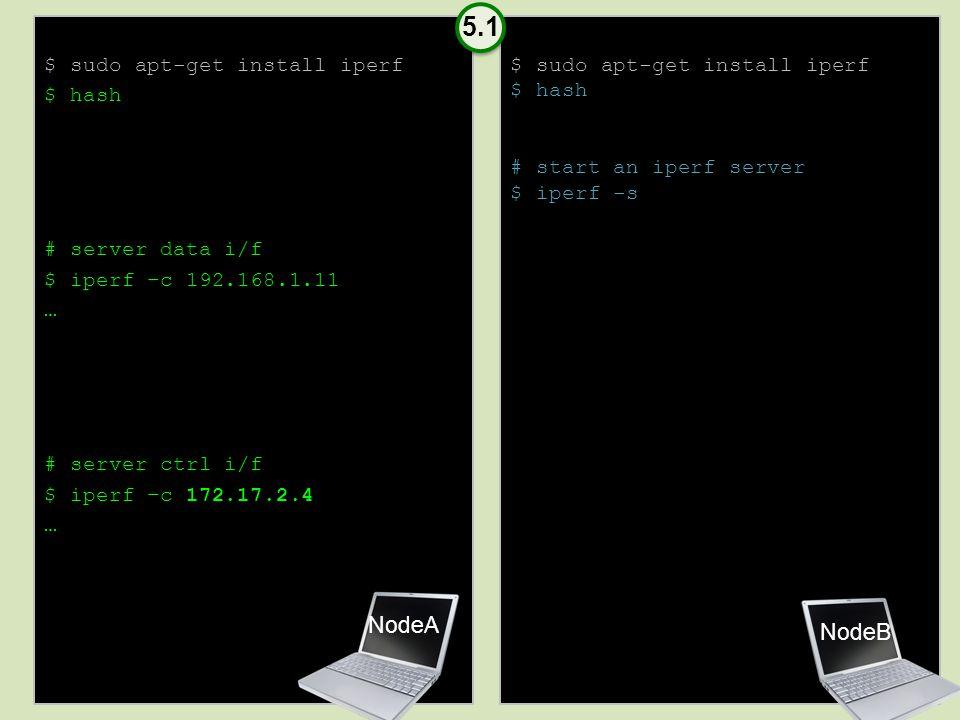 $ sudo apt-get install iperf $ hash # server data i/f $ iperf –c 192.168.1.11 … # server ctrl i/f $ iperf –c 172.17.2.4 … $ sudo apt-get install iperf $ hash # start an iperf server $ iperf -s NodeB NodeA 5.1