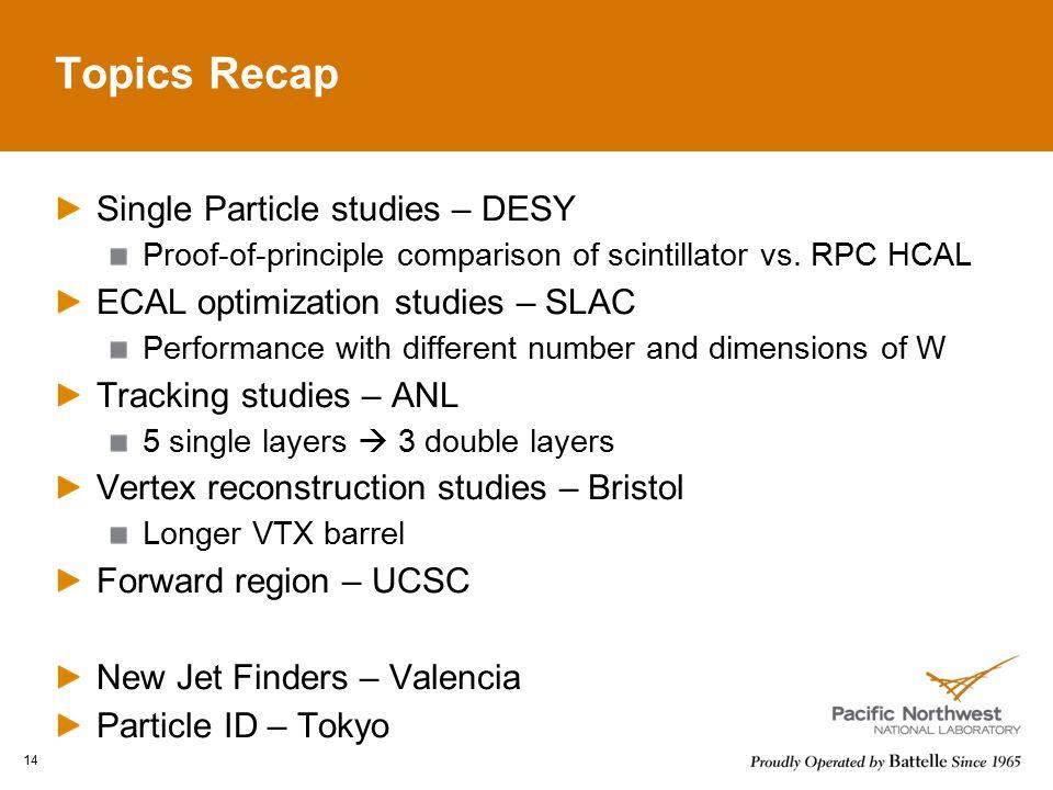 Topics Recap Single Particle studies – DESY Proof-of-principle comparison of scintillator vs.