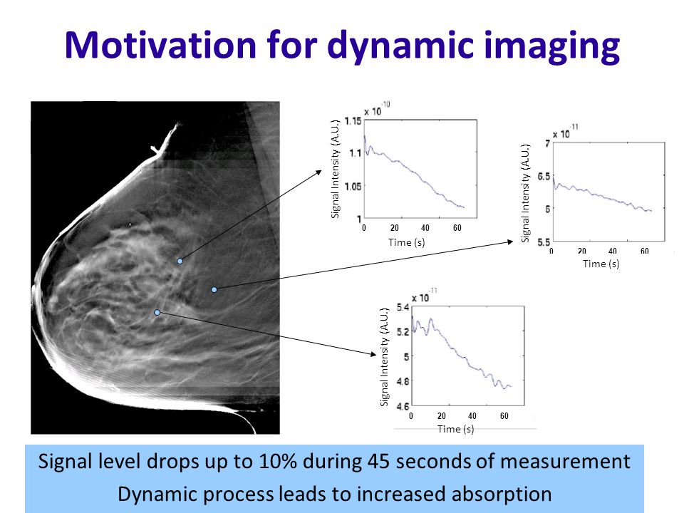 Motivation for dynamic imaging Signal level drops up to 10% during 45 seconds of measurement Dynamic process leads to increased absorption Signal Intensity (A.U.) 0 20 40 60 Time (s) Signal Intensity (A.U.) 0 20 40 60 Time (s) Signal Intensity (A.U.) 0 20 40 60 Time (s)