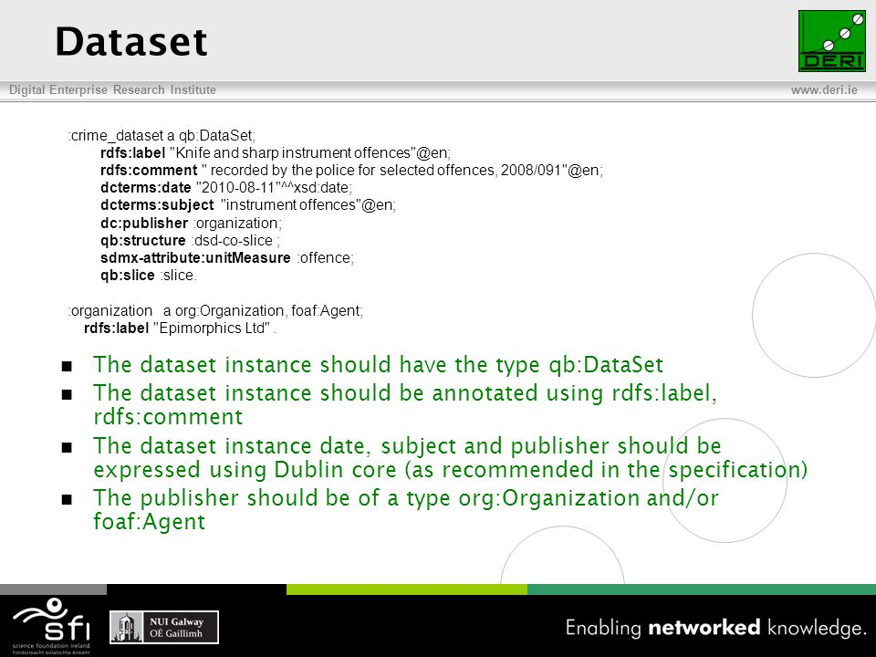 Digital Enterprise Research Institute www.deri.ie Dataset The dataset instance should have the type qb:DataSet The dataset instance should be annotated using rdfs:label, rdfs:comment The dataset instance date, subject and publisher should be expressed using Dublin core (as recommended in the specification) The publisher should be of a type org:Organization and/or foaf:Agent :crime_dataset a qb:DataSet; rdfs:label Knife and sharp instrument offences @en; rdfs:comment recorded by the police for selected offences, 2008/091 @en; dcterms:date 2010-08-11 ^^xsd:date; dcterms:subject instrument offences @en; dc:publisher :organization; qb:structure :dsd-co-slice ; sdmx-attribute:unitMeasure :offence; qb:slice :slice.