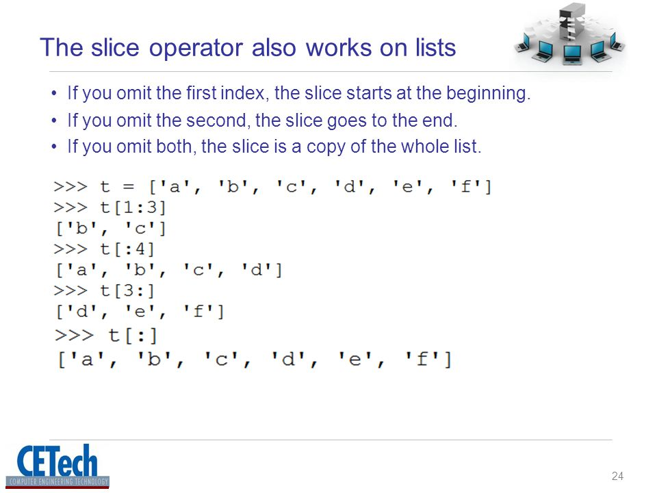 24 The slice operator also works on lists If you omit both, the slice is a copy of the whole list.