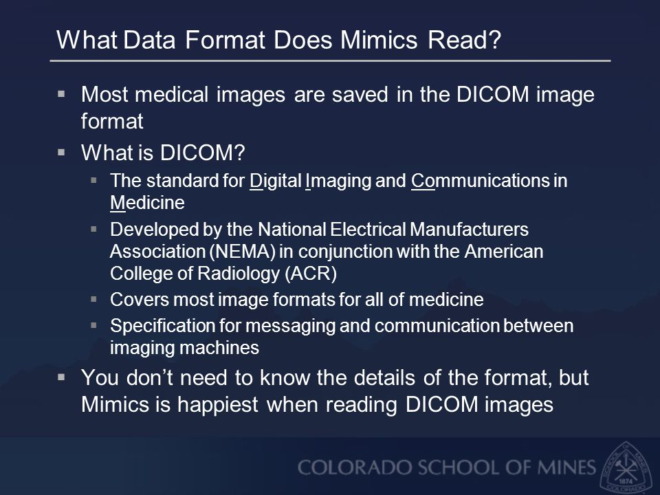 What Data Format Does Mimics Read.