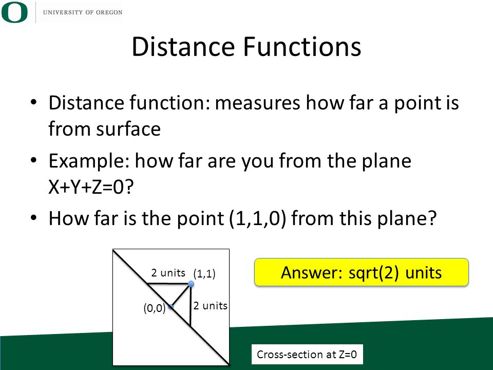 (0,0) (1,1) Distance Functions Distance function: measures how far a point is from surface Example: how far are you from the plane X+Y+Z=0? How far is