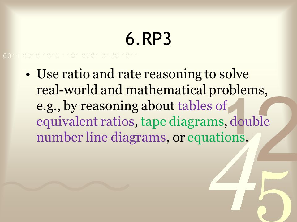 6.RP3 Use ratio and rate reasoning to solve real-world and mathematical problems, e.g., by reasoning about tables of equivalent ratios, tape diagrams, double number line diagrams, or equations.