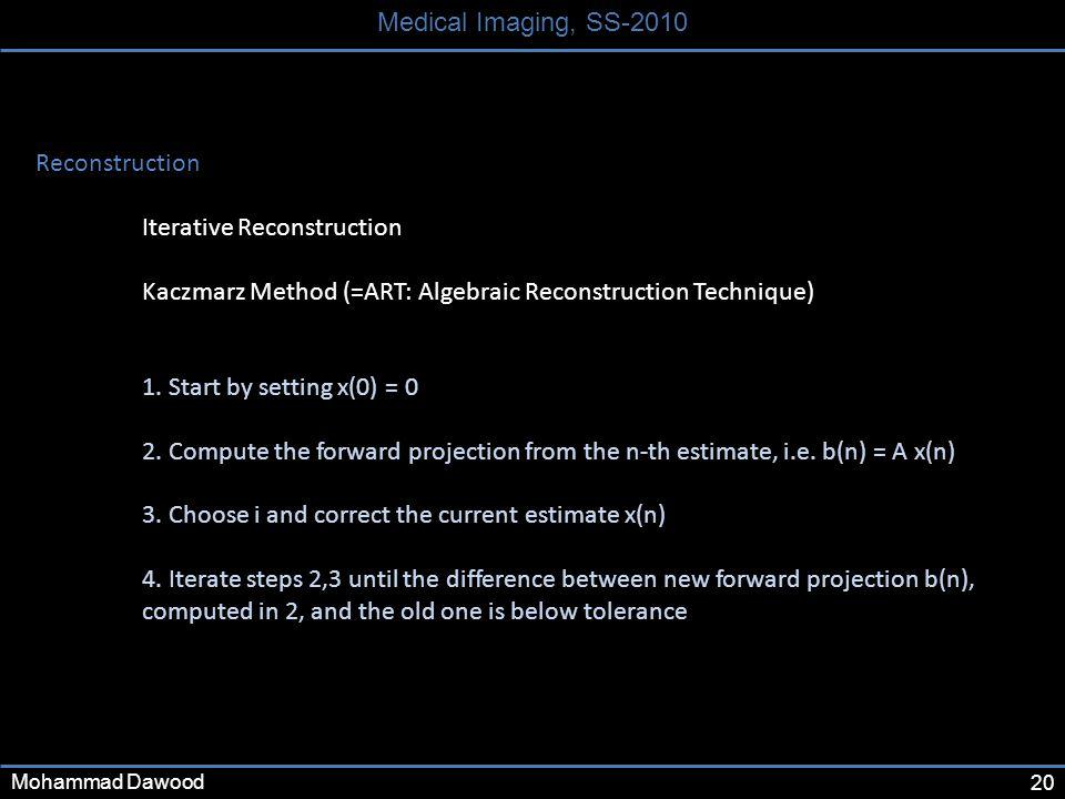 20 Medical Imaging, SS-2010 Mohammad Dawood Reconstruction Iterative Reconstruction Kaczmarz Method (=ART: Algebraic Reconstruction Technique) 1. Star