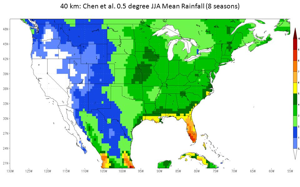 40 km: Chen et al. 0.5 degree JJA Mean Rainfall (8 seasons)