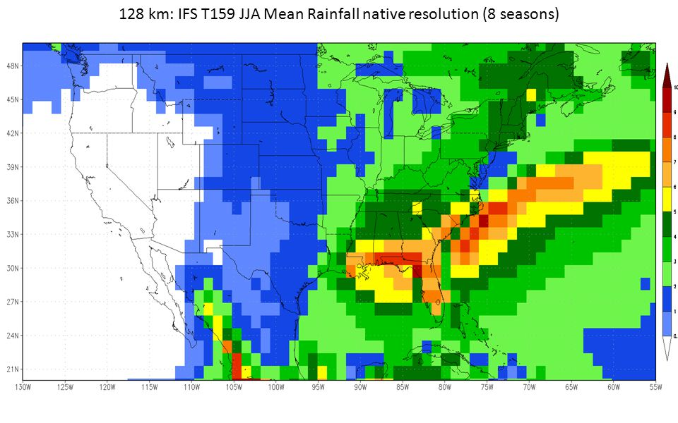 128 km: IFS T159 JJA Mean Rainfall native resolution (8 seasons)