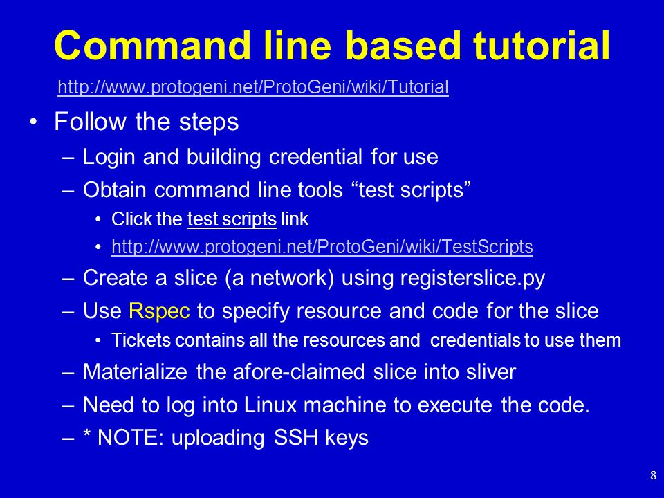 9 Video Tutorial: command line based experiment First Omni Experience: Hello, Omni.