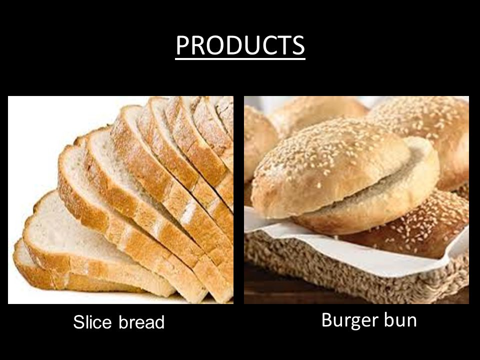 PRODUCTS Burger bun Slice bread