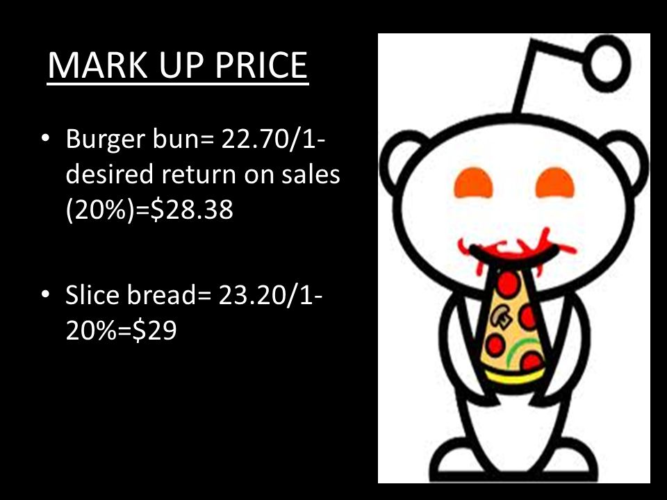 MARK UP PRICE Burger bun= 22.70/1- desired return on sales (20%)=$28.38 Slice bread= 23.20/1- 20%=$29