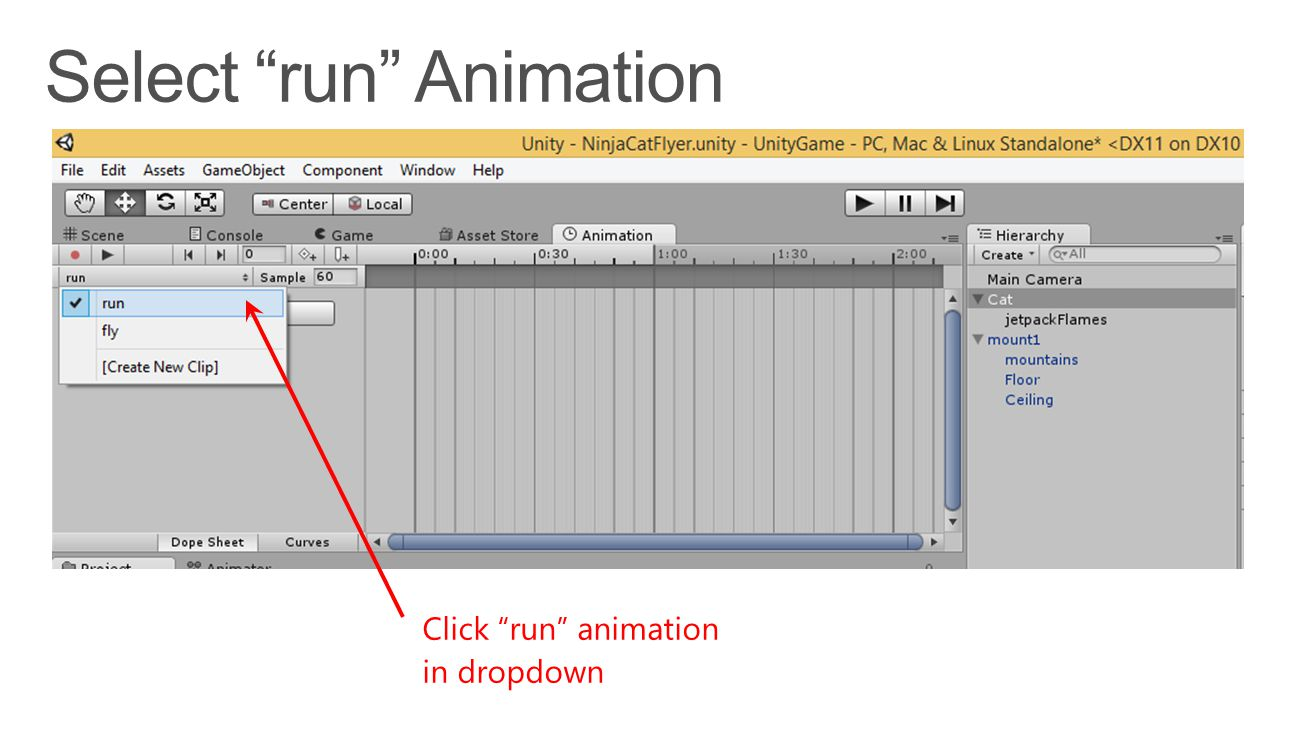 Click run animation in dropdown