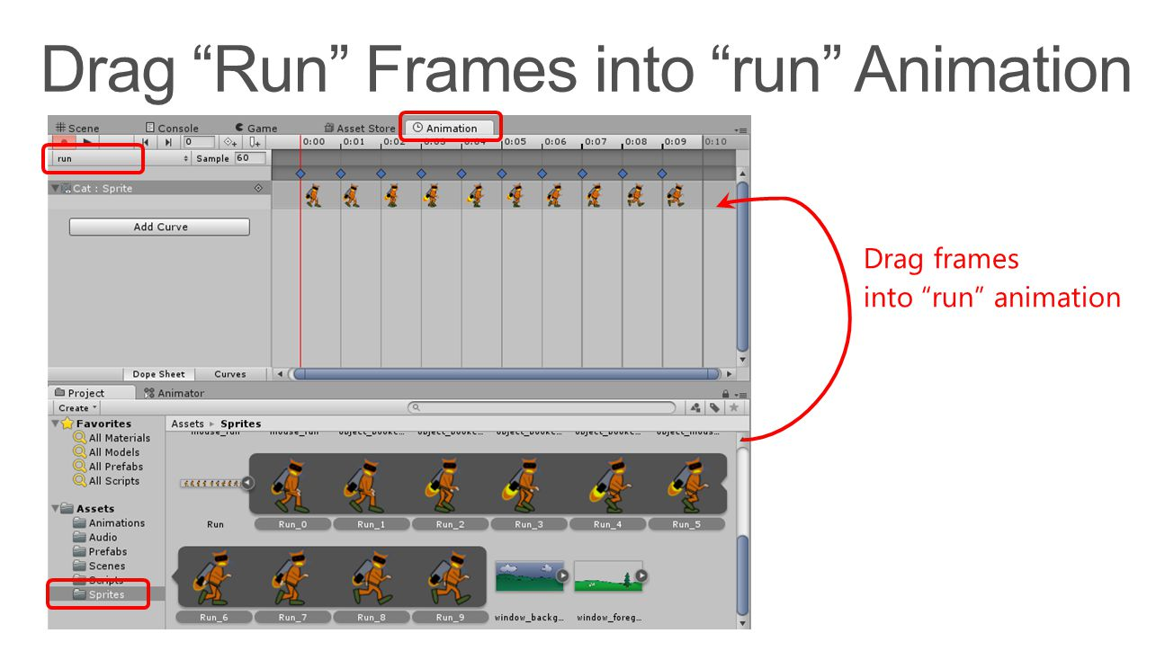 "Drag frames into ""run"" animation"