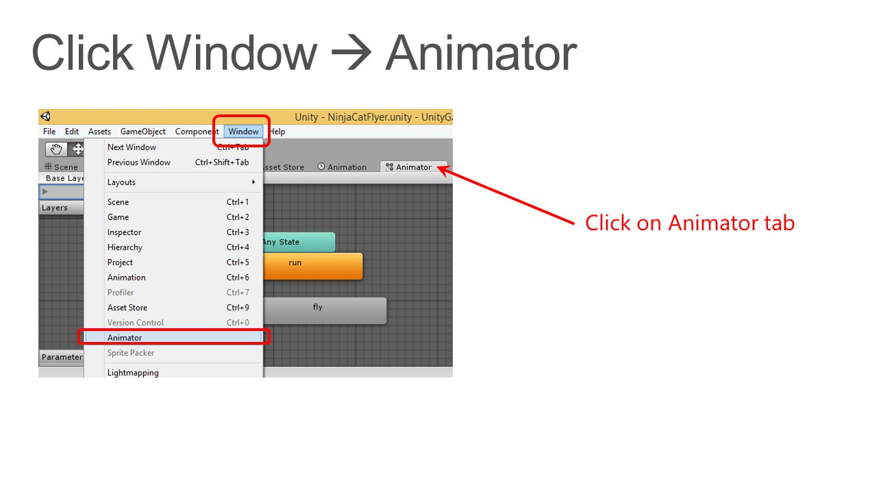 Click on Animator tab