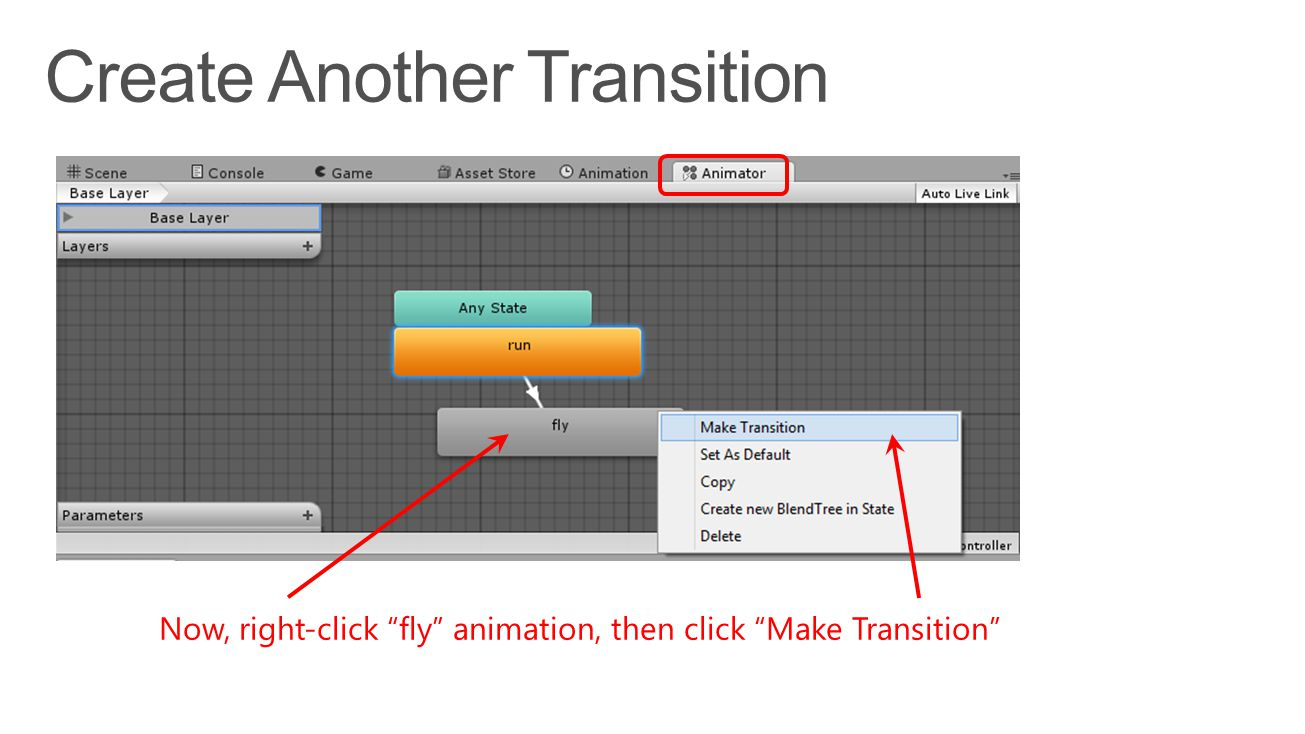 Now, right-click fly animation, then click Make Transition