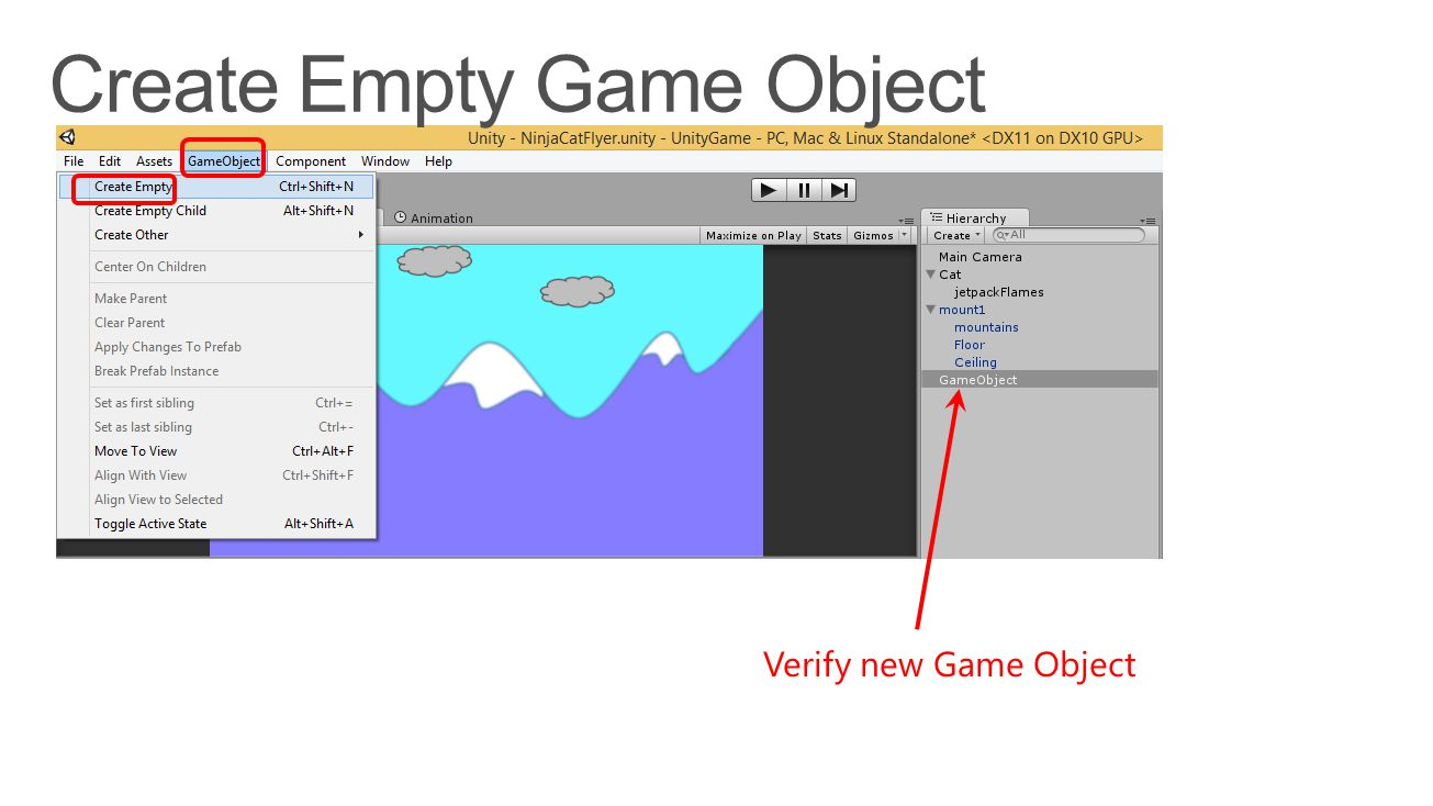 Verify new Game Object
