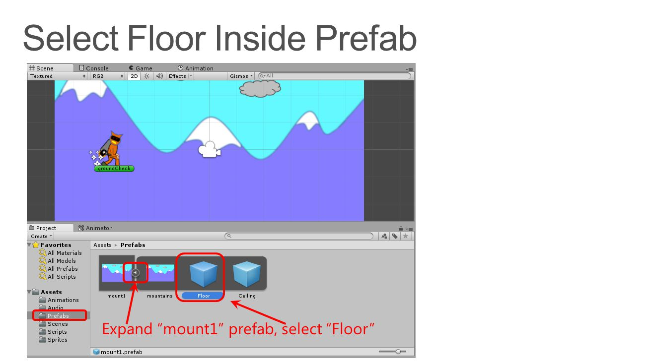 Expand mount1 prefab, select Floor