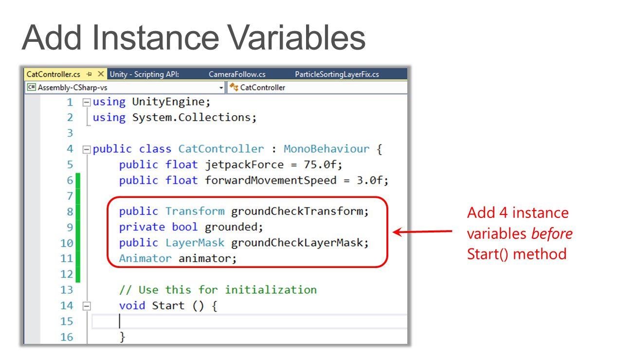 Add 4 instance variables before Start() method
