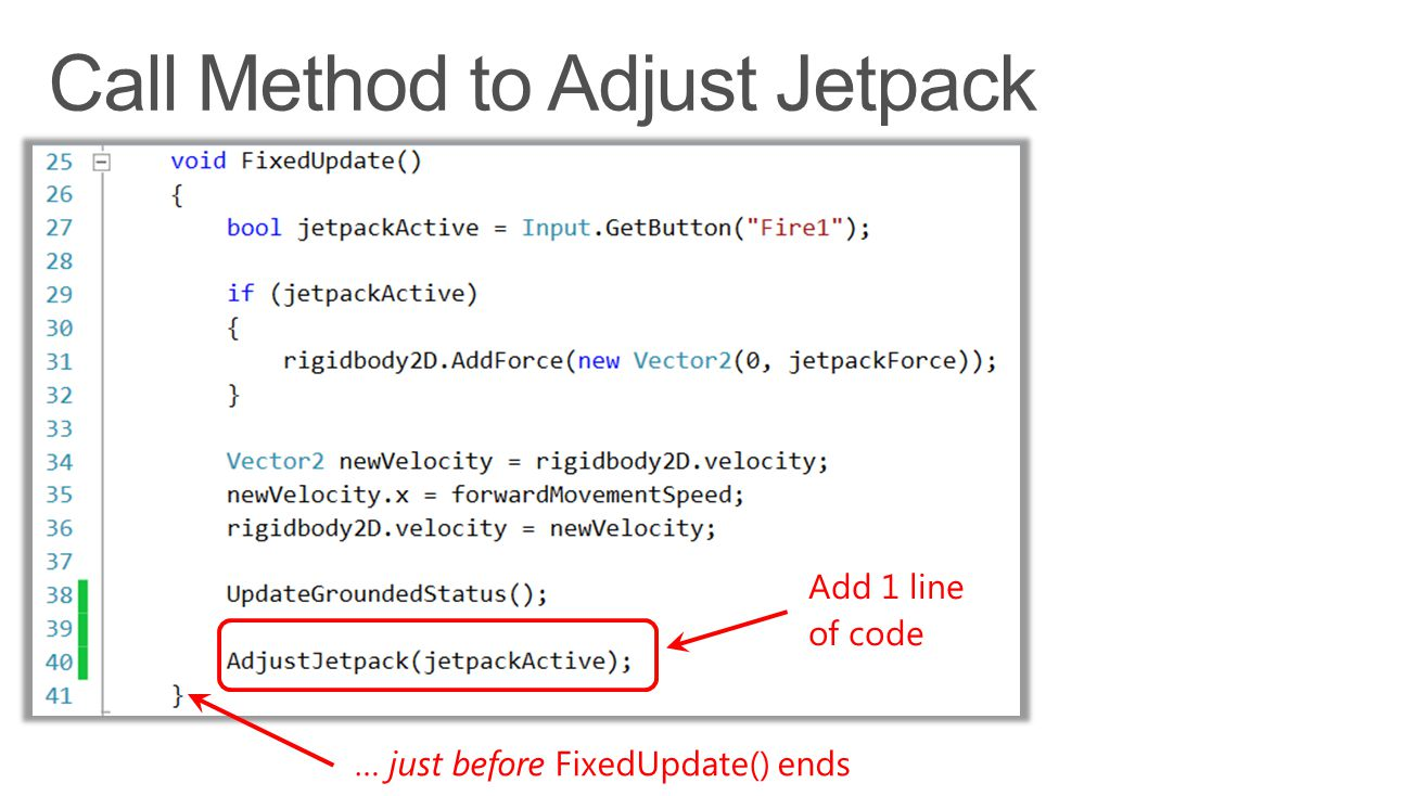 Add 1 line of code … just before FixedUpdate() ends