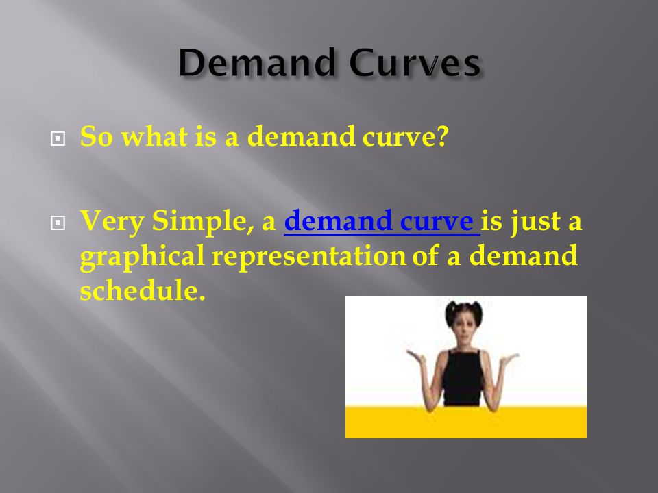  So what is a demand curve?  Very Simple, a demand curve is just a graphical representation of a demand schedule.